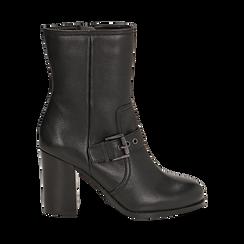 Ankle boots neri in pelle, tacco 9 cm , Primadonna, 14F114002PENERO036, 001a