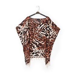 Poncho leopard marrone in tessuto , Abbigliamento, 13B445069TSLEMAUNI, 001 preview