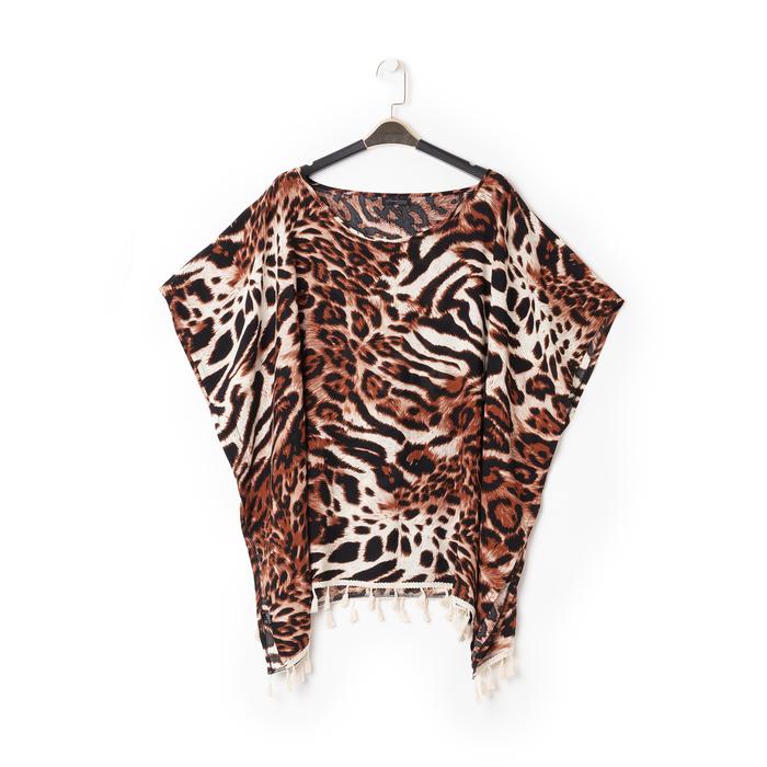 Poncho leopard marrone in tessuto , Abbigliamento, 13B445069TSLEMAUNI
