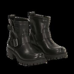 Biker boots con fibbie neri in eco-pelle, tacco 4,5 cm , Primadonna, 140585663EPNERO037, 002a