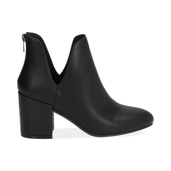 Ankle boots neri in eco-pelle, tacco 8 cm , Stivaletti, 142762723EPNERO036, 001 preview