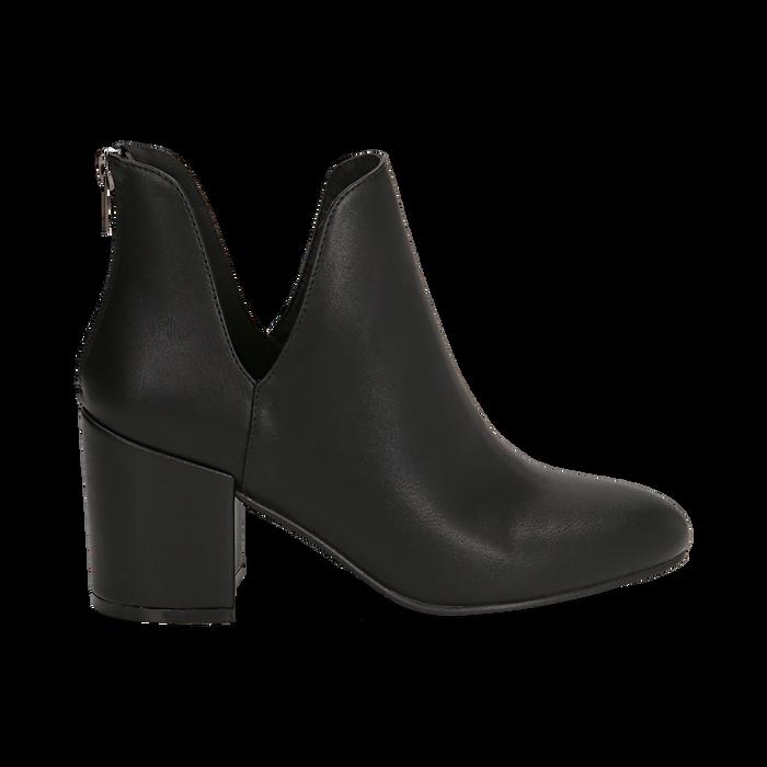 Ankle boots neri in eco-pelle, tacco 8 cm , Stivaletti, 142762723EPNERO036