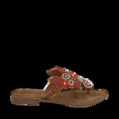 Ciabatte infradito cuoio in camoscio , Chaussures, 15K808334CMCUOI035, 001a