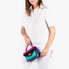 Mini bag fucsia in eco-pelle e raso , NUOVI ARRIVI, 155122242EPFUCSUNI, 002a