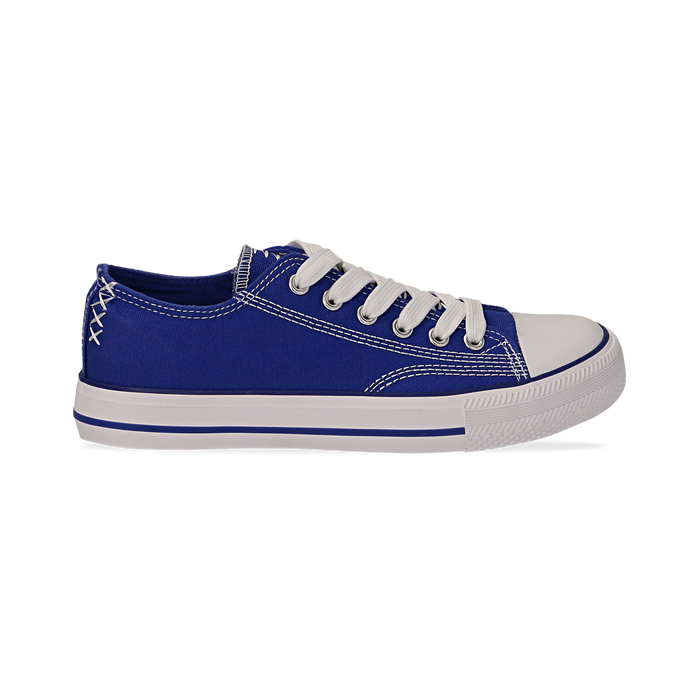 Sneakers blu in canvas, Scarpe, 137300862CABLUE036