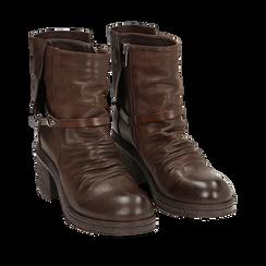 Biker boots marroni in eco-pelle, tacco 5 cm , Stivaletti, 140736661EPMARR035, 002a