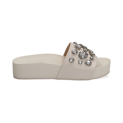 Zeppe bianche in eco-pelle con gemme, zeppa 4 cm, Primadonna, 115160026EPBIAN037, 001 preview