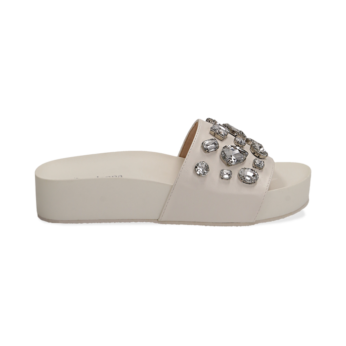 Zeppe bianche in eco-pelle con gemme, zeppa 4 cm, Primadonna, 115160026EPBIAN037