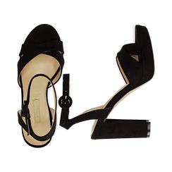Sandali neri in microfibra, tacco 9,5 cm, Sandali con tacco, 152118585MFNERO035, 003 preview