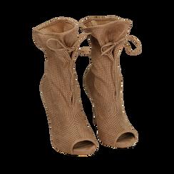Botines open toe en microfibra perforada color beige, tacón 11 cm, 152182886MFBEIG035, 002a