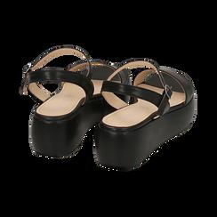 Sandali neri in eco-pelle, zeppa 5 cm , Zapatos, 159790131EPNERO038, 004 preview