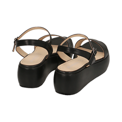 Sandali neri in eco-pelle, zeppa 5 cm , Chaussures, 159790131EPNERO038, 004 preview