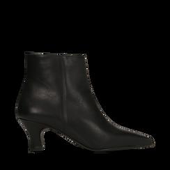 Tronchetti neri in vera pelle, tacco a rocchetto basso 6 cm, Primadonna, 127200154VINERO036, 001a