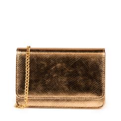 Bolso en eco-piel con estampado de serpiente color rosa/dorado, Primadonna, 155122414EVRAORUNI, 001a