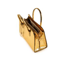 Sac à main doré en simili-cuir imprimé croco, Sacs, 155702495CCOROGUNI, 004 preview