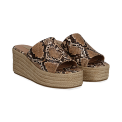 Zeppe platform beige in eco-pelle, effetto snake skin, zeppa in corda 7 cm, Primadonna, 132708151PTBEIG035, 002 preview