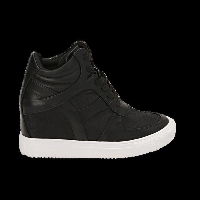 Sneakers nere in eco-pelle, zeppa interna 7 cm, Scarpe, 142008353EPNERO035
