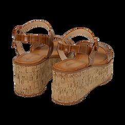 Sandali cuoio stampa cocco, zeppa 7,50 cm, Scarpe, 154967318CCCUOI, 004 preview