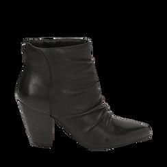 Camperos neri in pelle, tacco 8,5 cm , Scarpe, 14D600911PENERO035, 001a
