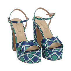 Sandali verdi in raso optical print, tacco 12 cm, Scarpe, 152133401RSVERD, 002 preview
