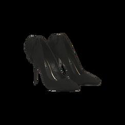 Décolleté nere con pon-pon, tacco stiletto 11,5 cm, 122100530MFNERO036, 002