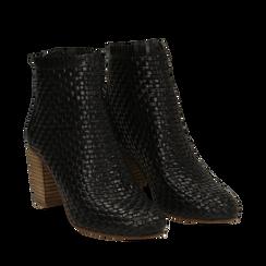 Ankle boots neri in pelle intrecciata, tacco 8 cm, Saldi Estivi, 13C515018PINERO035, 002a