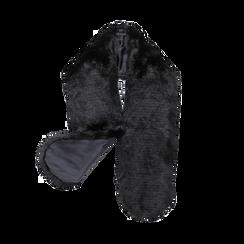 Coprispalla in eco-pelliccia nera, Saldi, 12B414001FUNERO, 002 preview