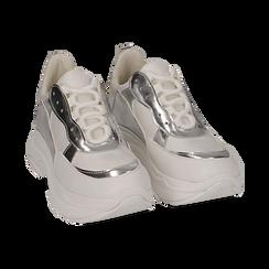 Dad shoes blanche/argent en simili-cuir, Chaussures, 15K429169EPBIAR036, 002 preview
