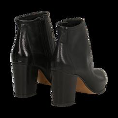 Ankle boots in vera pelle neri con tacco in legno 8 cm, Scarpe, 137725901PENERO035, 004 preview