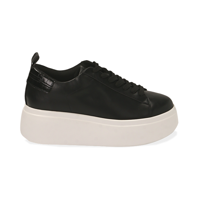 Zapatillas color negro, cuña 6,50 cm , Primadonna, 167505101EPNERO036
