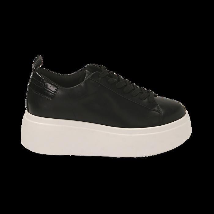Sneakers nere, zeppa 6,50 cm, Primadonna, 167505101EPNERO036