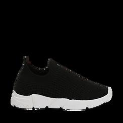 Slip-on nere in tessuto tecnico, Sneakers, 159718103TSNERO035, 001a