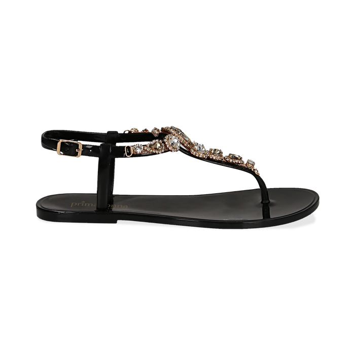 Sandali infradito neri in pvc con strass, Primadonna, 130900001PVNERO036
