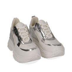 Dad shoes bianco/argento in eco-pelle, Primadonna, 15K429169EPBIAR, 002a