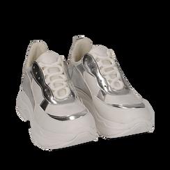 Dad shoes en eco-piel color blanco/plateado, Zapatos, 15K429169EPBIAR036, 002a