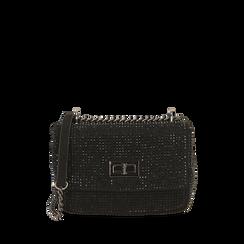 Borsa gioiello nera in microfibra, IDEE REGALO, 165122995MPNEROUNI, 001a