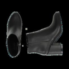 Ankle boots neri in eco-pelle, tacco 7, 50 cm , Stivaletti, 142762715EPNERO036, 003 preview