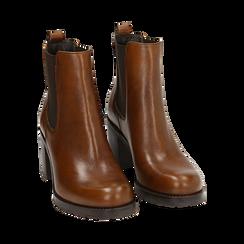 Chelsea boots cuoio in pelle, tacco 7,50 cm , Primadonna, 167734401PECUOI035, 002 preview