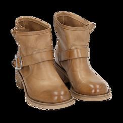 Biker boots cuoio in pelle, Primadonna, 157782014PECUOI039, 002a