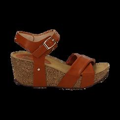 Sandali platform cuoio in eco-pelle, zeppa in sughero 7 cm , Saldi, 132141454EPCUOI036, 001 preview