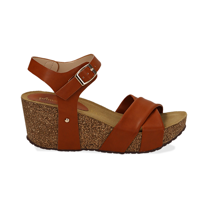 Sandali platform cuoio in eco-pelle, zeppa in sughero 7 cm , Saldi, 132141454EPCUOI036