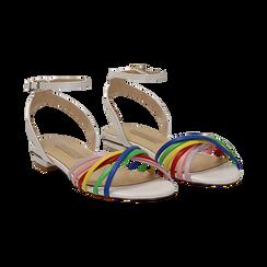 Sandali flat multilistino bianchi in eco-pelle, Scarpe, 132174722EPBIAN036, 002 preview