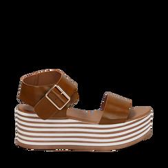 Sandali platform cuoio in eco-pelle, zeppa optical 6,50 cm , Primadonna, 139716068EPCUOI035, 001a