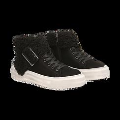 Sneakers nere con risvolto in eco-shearling, Primadonna, 124110063MFNERO, 002 preview