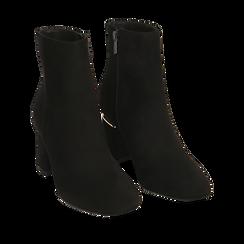 Ankle boots neri in microfibra, tacco 6,50 cm , 164981031MFNERO036, 002a
