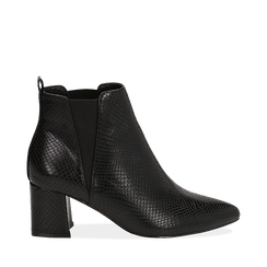 Ankle boots neri effetto snake, tacco 6 cm , Stivaletti, 144971153EVNERO035, 001a