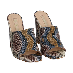 Mules blu/beige in eco-pelle snake print, tacco 10,50 cm, Zapatos, 152709445PTBLBE036, 002 preview