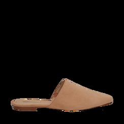 Mules flat nude in microfibra con punta affusolata, Scarpe, 134921861MFNUDE035, 001a