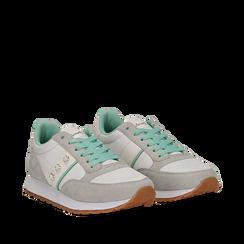 Sneakers bianco-grigie in microfibra con perle, Scarpe, 132619079MFBIGR041, 002a