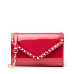 Clutch rossa borchiata in vernice, Primadonna, 145186501VEROSSUNI, 001a